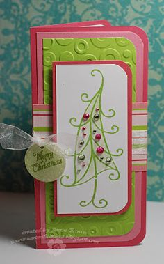 Pink & green Christmas card - gorgeous! Aaron Brown, Sophia from CTMH