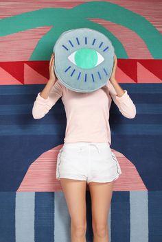 ARRO Home: Sunset Rug + Blue Eye Cushion