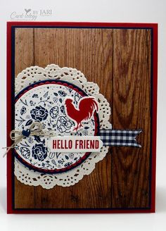 Stampin' Up! Wood Words Hello for Happy Inkin' Thursday (Card-iology By Jari) Card Making Inspiration, Making Ideas, Stampin Up Catalog 2017, Bird Cards, Men's Cards, Scrapbook Cards, Scrapbooking, Cards For Friends, Friend Cards