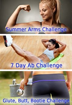 Top 3 Fitness Challenges ~ Arms, Abs and Butt. Great Website!