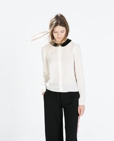 SHIRT WITH CONTRASTING COLLAR from Zara