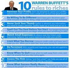 Warren Buffet's 10 Rules to Riches. success business tips self improvement wealth entrepreneur self help warren buffet tips on self improvement entrepreneur tips tips for entrepreneur Financial Peace, Financial Tips, Financial Planning, Financial Literacy, Money Tips, Money Saving Tips, Warren Buffet Quotes, Analyse Technique, Leadership