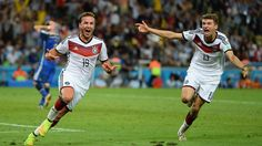 Mario Goetze of Germany celebrates scoring