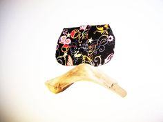 Black Clutch Purse with Pink Flowers by TrampLeeDesigns on Etsy, $16.00