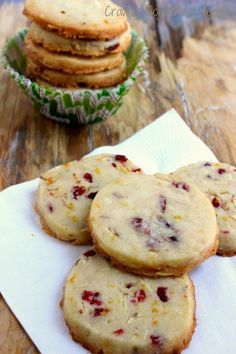 Cranberry Orange Almond Shortbread Cookies - Craving Something Healthy. My favorite easy holiday (or anytime) slice and bake cookies. Holiday Baking, Christmas Baking, Homemade Christmas, Almond Shortbread Cookies, Orange Cranberry Shortbread Cookies, Christmas Shortbread Cookies, Cranberry Almond Biscotti, Icebox Cookies, Cranberry Orange Muffins