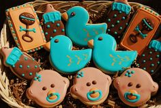 Baby shower -- blue and brown.