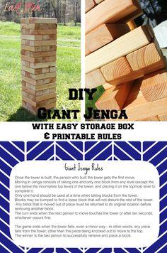 East Plum: Giant Jenga with Easy Storage Box & Printable Rules
