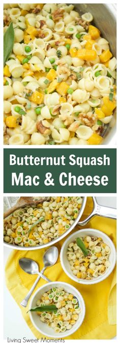 This creamy  Mac And Cheese recipe is inspired by fall featuring butternut squash, peas, sage, and walnuts. The perfect easy 30-minute weeknight dinner idea. Vegetarian too!  via @Livingsmoments