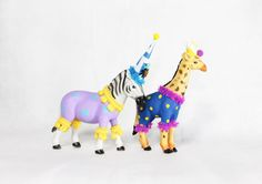 Party Animal Set of 2- painted carnival, circus, and birthday decor, cake toppers