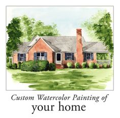 Custom Watercolor House Portrait Home 8 x 10 ORIGINAL Your House Portrait, Vacation Home, Childhood Home