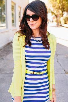 Stylish Yellow Cardigan And Yellow Belt Over A Blue Striped Dress