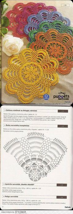 Hobby: Damskie pasje i hobby. Odkryj i pokaż innym Twoje hobby. Crochet Mat, Crochet Doily Diagram, Crochet Dollies, Crochet Flower Tutorial, Crochet Doily Patterns, Thread Crochet, Filet Crochet, Crochet Designs, Crochet Flowers