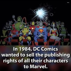 And they came to an agreement, but backed out because Marvel would own 90% of the characters in existence. Crazy. | #marvel #dccomics #superman #batman #flash #ironman #captainamerica #ironman #spiderman #deadpool #wolverine #wonderwoman | Credit to the respective artist - DM me if you know |