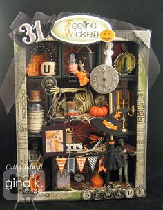 Halloween Configuration box my Aunt Cathy made. She is so talented! Halloween Shadow Box, Holidays Halloween, Spooky Halloween, Vintage Halloween, Halloween Crafts, Holiday Crafts, Happy Halloween, Halloween Decorations, Halloween Diorama
