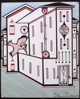 """Welmon Sharlhorne. It was at Angola that Welmon began creating distinctive drawings of imaginary buildings, people, buses and skyscapes. """"My art and God saved me while I was locked up."""" In order to get materials for his art while in prison, he concocted a story that he needed to write his lawyer, and thereby was given ballpoint pens and manila envelopes. He also used tongue depressors from the prison nurse as a straight edge to form the numerous straight lines his drawing feature."""