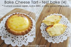 Hokkaido Bake Cheese Tart With step-by-step pics guide and different filling consistency details. Bake Cheese Tart, Cheese Tarts, Egg Tart, Fruit Tart, Tempura, Asian Desserts, Just Desserts, Sashimi, Tart Recipes