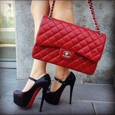 Red Chanel purse in classic quilted pattern w/ silver hardware + black Mary Jane heels by #ChristianLouboutins / #RedBottoms