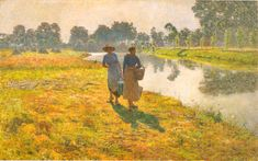 Emile Claus Young Peasant Girls at the Leie