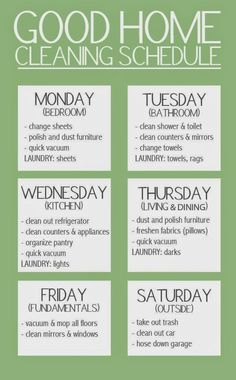 Household Cleaning Schedule