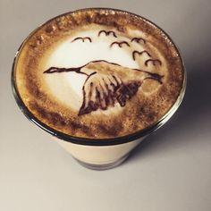 Migrating geese, latte art