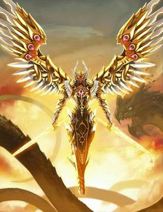 Divine. A rare perfect of infinites creation. Always on that golden winged, eyes and swords that flame hotter then 1 billion suns brighter than 500,000,000 million suns, contained within 1 billion galaxy! Thats ridiculous heat!!! Guarding one door...the only TRUE entrance in light...Warrior of one PURE path of both last and first alpha omega.