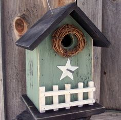 Country Bird Houses | Country Birdhouse Grass Stain Green Primitive by birdhouseaccents