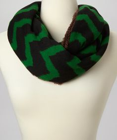 Take a look at this Green & Black Chevron Fleece-Lined Infinity Scarf by SAKA INC. on #zulily today!