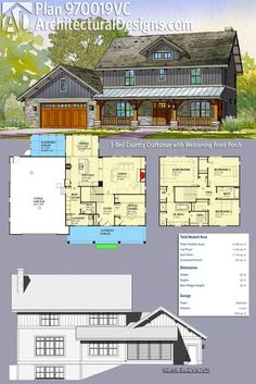 Architectural Designs 3-Bed Country Craftsman House Plan 970019VC gives you a welcoming porch in front and a screened porch in back and over 2,400 square feet of heated living space to enjoy. Ready when you are. Where do YOU want to build?