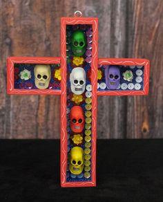Day of the Dead, Skulls in Cross Mexican Folk Art, hand made Dias de los Muertos