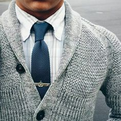 Knit tie with cardigan. Neat.