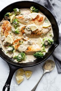 Julia Child's Creamy Chicken + Mushroom (also known as Supremes De Volaille Aux Champignons) lightened up and cooked in one skillet! | http://cafedelites.com