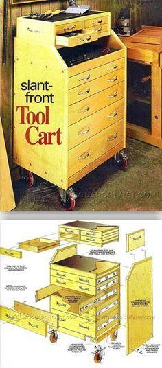 Workshop Storage, Workshop Organization, Tool Storage, Workshop Ideas, Tool Cart, Garage Tools, Wood Tools, Wood Plans, Diy Wood Projects