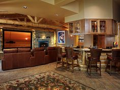 Basement Home Theater and Bar