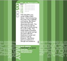 Pantone Color of the Month for May is Bud Green. Bud Green is the color of stability and healing; it's representative of spring and the resurgence of color in nature. Birth Colors, Color Of The Day, Think On, Color Studies, Numerology, Pantone Color, Understanding Yourself, Unique Colors, May
