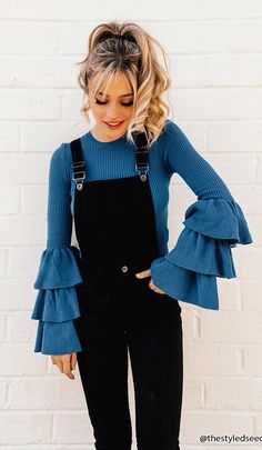 #fall #outfits blue long sleeves