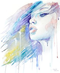 kissing the wind by cora tiana - Watercolor Paintings by Cora and Tiana  <3 <3