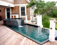 Exciting Idea to Build Above Ground Plunge Pool : Designed Pool And Spa With A Vanishing Edge Overlooking A Quiet View Of The Sound Side Near The Ocean With Plunge Pool Design Idea