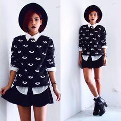 http://lookbook.nu/look/5783047-Eyes-Print-Sweatshirt-Buckle-Strap-Ankle-Boots