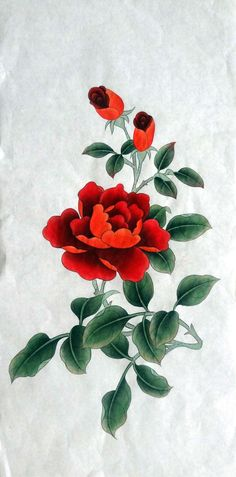 #etsy shop: 100% Hand-painted, roses painting,Chinese Gongbi painting, ink wash painting,original watercolour painting, Chinese painting, 33x68cm #share #this  Excited to share this item from my Chinese Painting, Chinese Art, Painted Roses, Hand Painted, Peony Flower, Flowers, Romantic Paintings, Ink Wash, Handmade Items