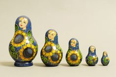 "5 Piece ""Vyatskaya Matryoshka"" Sunflowers, number 62238 - 725 Подсолнухи"