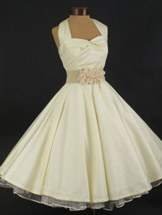 50's bridesmaids dresses | 50's Style Ivory Sateen Halter Style Tea Length Wedding Dress
