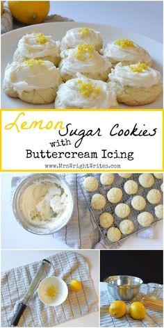 These Lemon Sugar Cookies with Buttercream are delcious and super simple to make! Great recipe for kids to help in the kitchen!