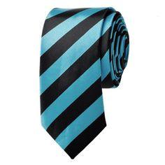 """TopTie Unisex New Fashion Black & Blue College Stripe Skinny 2"""" inch Necktie"""