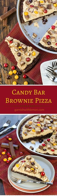 Get creative with your leftover Halloween Candy! It is hard to just eat one piece of this chewy, fudgy and peanut butter filled Candy Bar Brownie Pizza! ~ http://www.garnishwithlemon.com