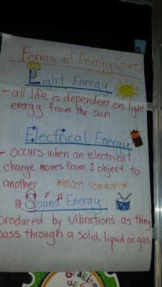 Science Forms of Energy part 2 anchor chart. I used this in my 5th grade class.  Excellent for STAAR review.