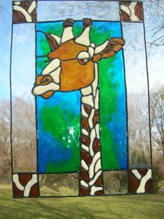 Giraffe Safari stained glass window Cling Stained Glass Window Clings, Stained Glass Windows, Stained Glass Suncatchers, Stained Glass Designs, Glass Animals, Sliding Glass Door, Giraffes, Shower Doors, Beach Themes
