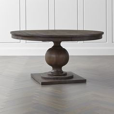 Designer Blake Tovins richly appointed round table showcases a dramatic turned base and gracious tabletop that extends to seat eight. Round Extendable Dining Table, Pedestal Dining Table, Dining Nook, Dining Room Table, Kitchen Tables, Kitchen Dining, Dining Chairs, Kitchen Furniture, Table Furniture
