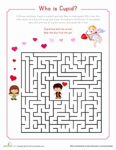 That crazy Cupid is at it again! The lovable Roman god has shot one of his magical arrows, causing two strangers to fall in love. Complete the maze to help the young couple find each other. Valentines Games, Valentine Wishes, Valentine Activities, Valentine Day Love, Valentine Crafts, Valentine Party, Valentine Ideas, Holiday Crafts, Holiday Ideas