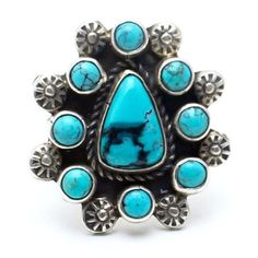 Handcrafted Native American Vintage Ring, circa 1970's Authentic Turquoise Stone Signed *S by artisan Made of Sterling Silver Each ring may slightly vary