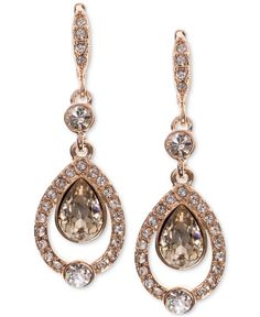 Givenchy Rose Gold-Tone Multi-Crystal and Pave Drop Earrings